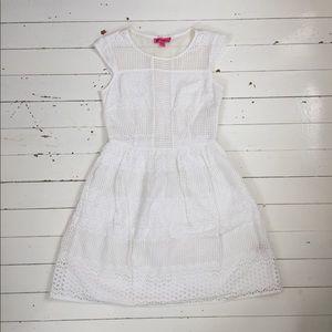 Betsey Johnson White Lace Laser Cutout Dress